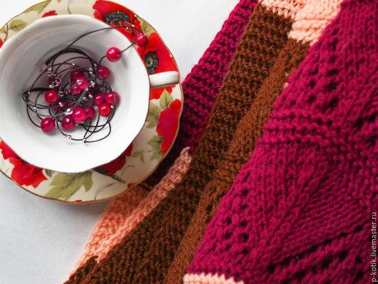"""Текстиль, ковры ручной работы. Ярмарка Мастеров - ручная работа. Купить Вязаный плед покрывало """"Бургунди"""". Handmade. Комбинированный, винный"""