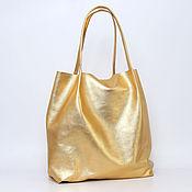 Сумки и аксессуары handmade. Livemaster - original item Golden Tote shopper Bag medium Coffee with milk. Handmade.