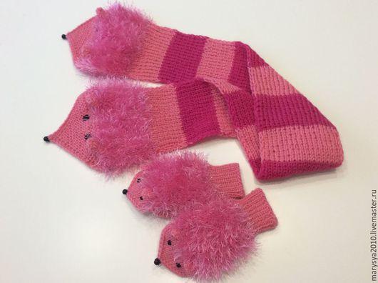 Варежки, митенки, перчатки ручной работы. Ярмарка Мастеров - ручная работа. Купить Комплект варежки и шарфик ежики. Handmade. Розовый
