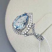 Украшения handmade. Livemaster - original item Silver ring with topaz 10h7 mm and cubic zirconia. Handmade.