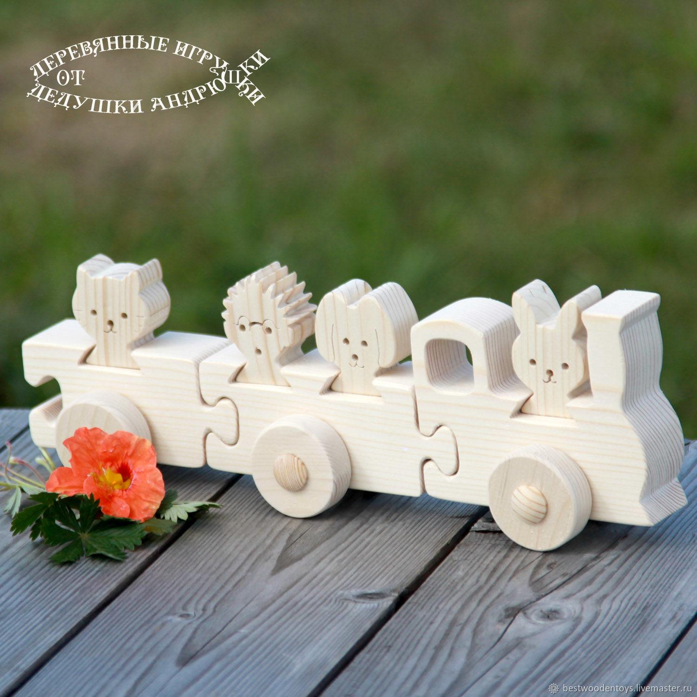 Waldorf toy. The train `grandma!` Volumetric puzzle. Wooden toys from Grandpa Andrewski.