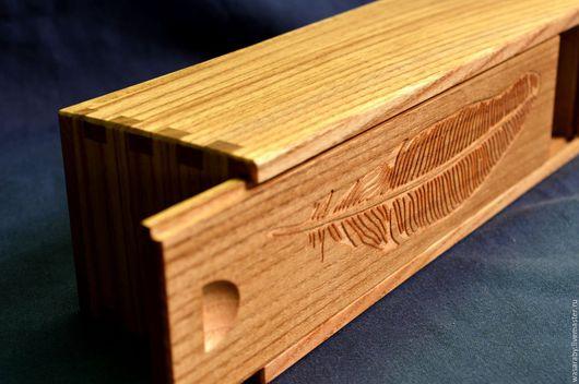 Шкатулки ручной работы. Ярмарка Мастеров - ручная работа. Купить Пенал из древесины ясеня с гравировкой.. Handmade. Шкатулка деревянная, пенал
