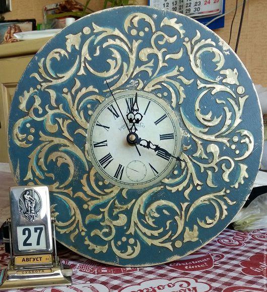 Часы для дома ручной работы. Ярмарка Мастеров - ручная работа. Купить Часы с рельефным декором. Handmade. Тёмно-зелёный