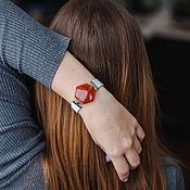 Украшения handmade. Livemaster - original item New year`s gift jewelry with white and red stone. Handmade.