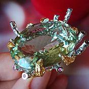Украшения handmade. Livemaster - original item Ring Mojitos with green amethyst and rubies. Handmade.