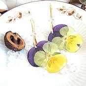 Украшения handmade. Livemaster - original item Earrings with Real Flowers Pansies Korean Accessories. Handmade.