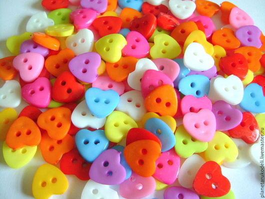 """Шитье ручной работы. Ярмарка Мастеров - ручная работа. Купить """"Сердечки маленькие"""" Пластиковые пуговицы 11 мм (20 шт). Handmade."""