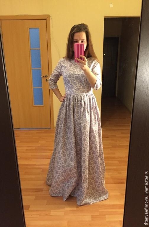 Платья ручной работы. Ярмарка Мастеров - ручная работа. Купить Платье в пол Серо-сиреневое с длинным рукавом. Handmade. Орнамент
