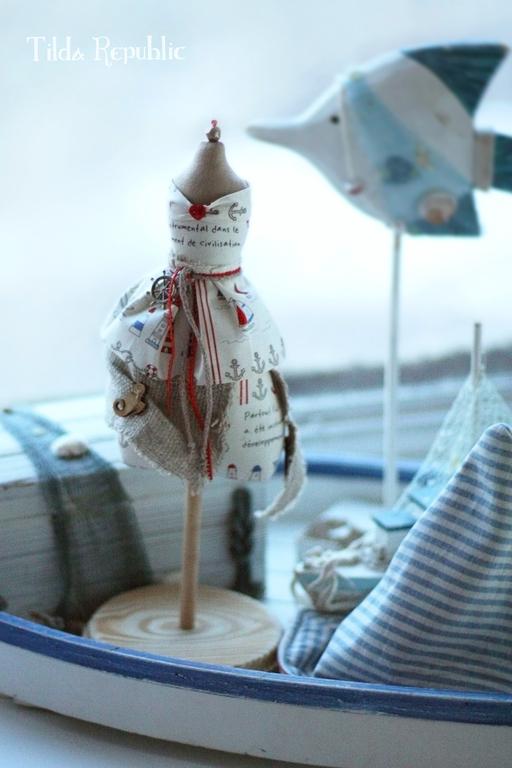 """Куклы Тильды ручной работы. Ярмарка Мастеров - ручная работа. Купить Манекен """"Морской бриз"""". Handmade. Синий, красный, манекен"""