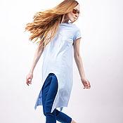 Одежда ручной работы. Ярмарка Мастеров - ручная работа футболка фрак голубая. Handmade.