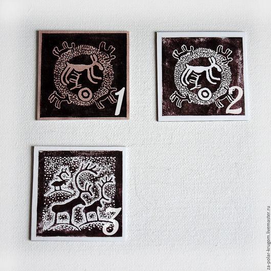 Магниты ручной работы. Ярмарка Мастеров - ручная работа. Купить Магнит авторский квадратный Древние рисунки. Handmade. Коричневый, магнитики