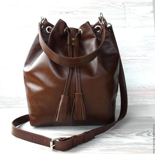 Женские сумки ручной работы. Ярмарка Мастеров - ручная работа. Купить Кожаная сумка торба. Рыжий, коричневый.. Handmade. Рыжий