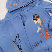 Одежда handmade. Livemaster - original item Blue knitted suit with embroidery. Handmade.