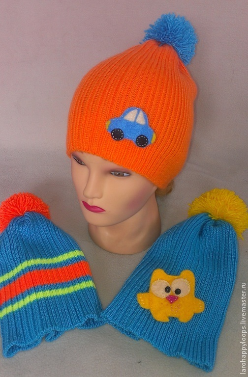 """Шапки и шарфы ручной работы. Ярмарка Мастеров - ручная работа. Купить Весенняя шапка для мальчика """"Неон"""". Handmade. Разноцветный"""
