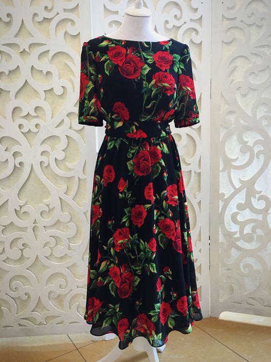 """Платья ручной работы. Ярмарка Мастеров - ручная работа. Купить Платье """"Красные розы"""". Handmade. Пошив на заказ, ателье москва"""
