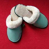 Обувь ручной работы handmade. Livemaster - original item Pearl leather Slippers with fur. Handmade.