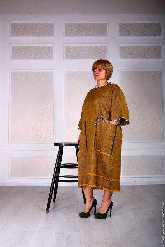 льняное платье, оригинальное платье, платье из льна