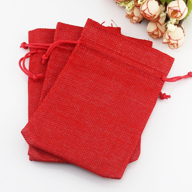 Упаковка ручной работы. Ярмарка Мастеров - ручная работа. Купить Мешочки из джута, красные - подарочная упаковка в эко-стиле, 8,5Х 12см. Handmade.