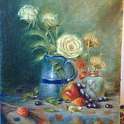 Картины и панно ручной работы. Ярмарка Мастеров - ручная работа Натюрморт с розами. Handmade.