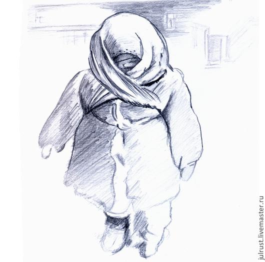 Люди, ручной работы. Ярмарка Мастеров - ручная работа. Купить Картина Сегодня мороз, рисунок карандашом серый белый графика. Handmade.