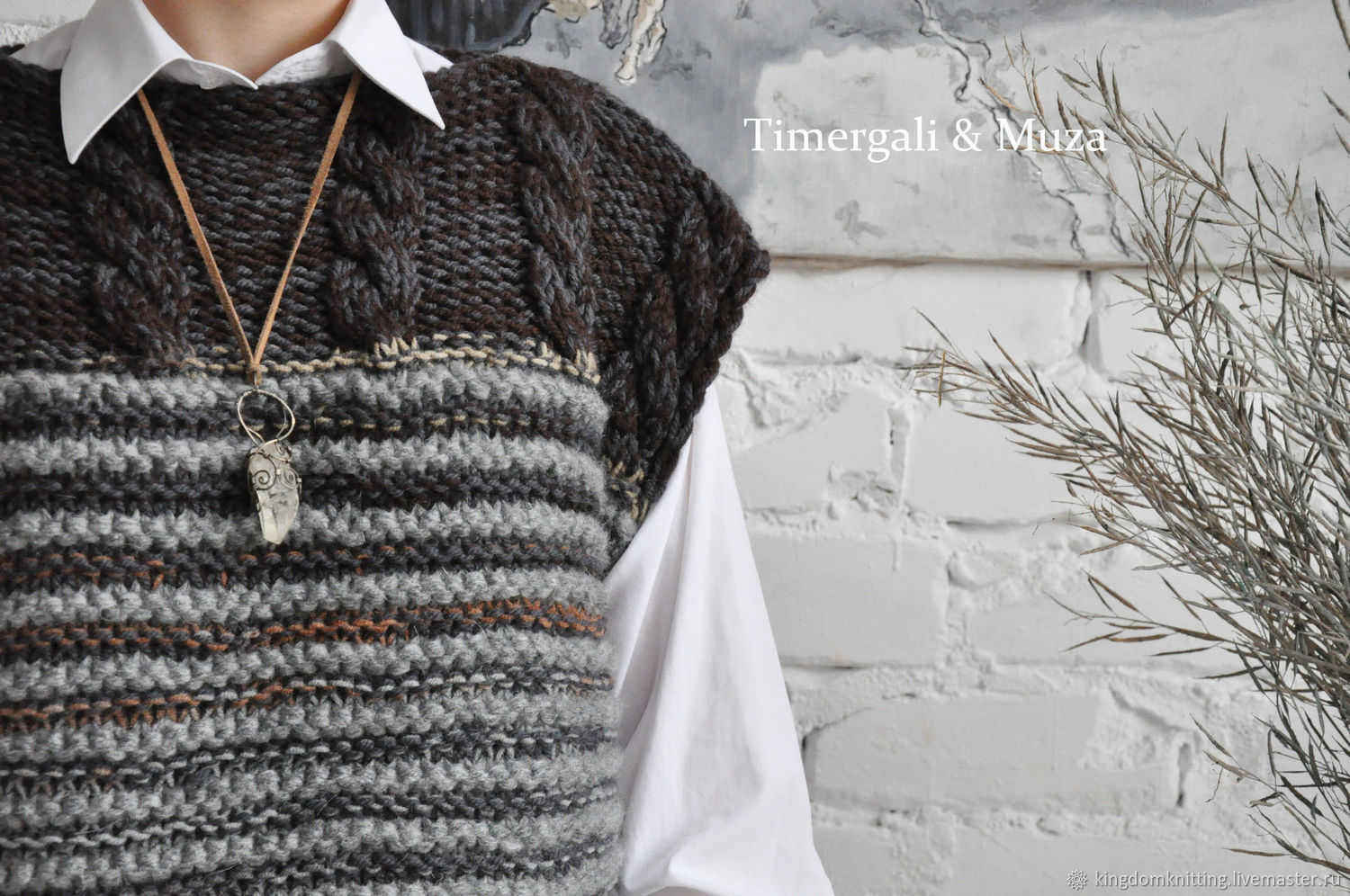 Wool Knitted Sleeveless Sweater Oversize Vest Gray Sleeveless Jumper, Vests, Moscow,  Фото №1
