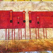Картины ручной работы. Ярмарка Мастеров - ручная работа Шесть такс. Handmade.