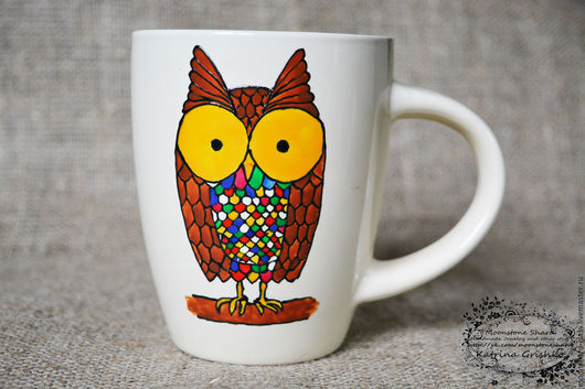Кружки и чашки ручной работы. Ярмарка Мастеров - ручная работа. Купить Чашка с росписью, чашка с совой, кружка с совой. Handmade.