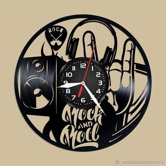 Часы для дома ручной работы. Ярмарка Мастеров - ручная работа. Купить Часы 'Рок-н-Ролл'. Handmade. Подарок, комбинированный