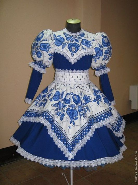 Одежда ручной работы. Ярмарка Мастеров - ручная работа. Купить платье Гжель G1. Handmade. Синий, народный стиль