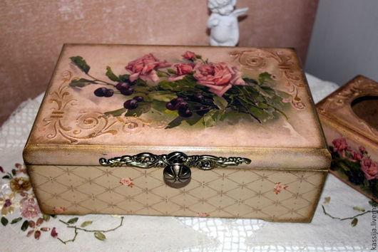 """Кухня ручной работы. Ярмарка Мастеров - ручная работа. Купить Набор для кухни """"Роза и вишня"""". Handmade. Бледно-розовый, подарок"""