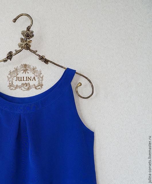 """Блузки ручной работы. Ярмарка Мастеров - ручная работа. Купить Блузка шелковая """"Ультрамарин"""". Handmade. Тёмно-синий, синяя блузка"""