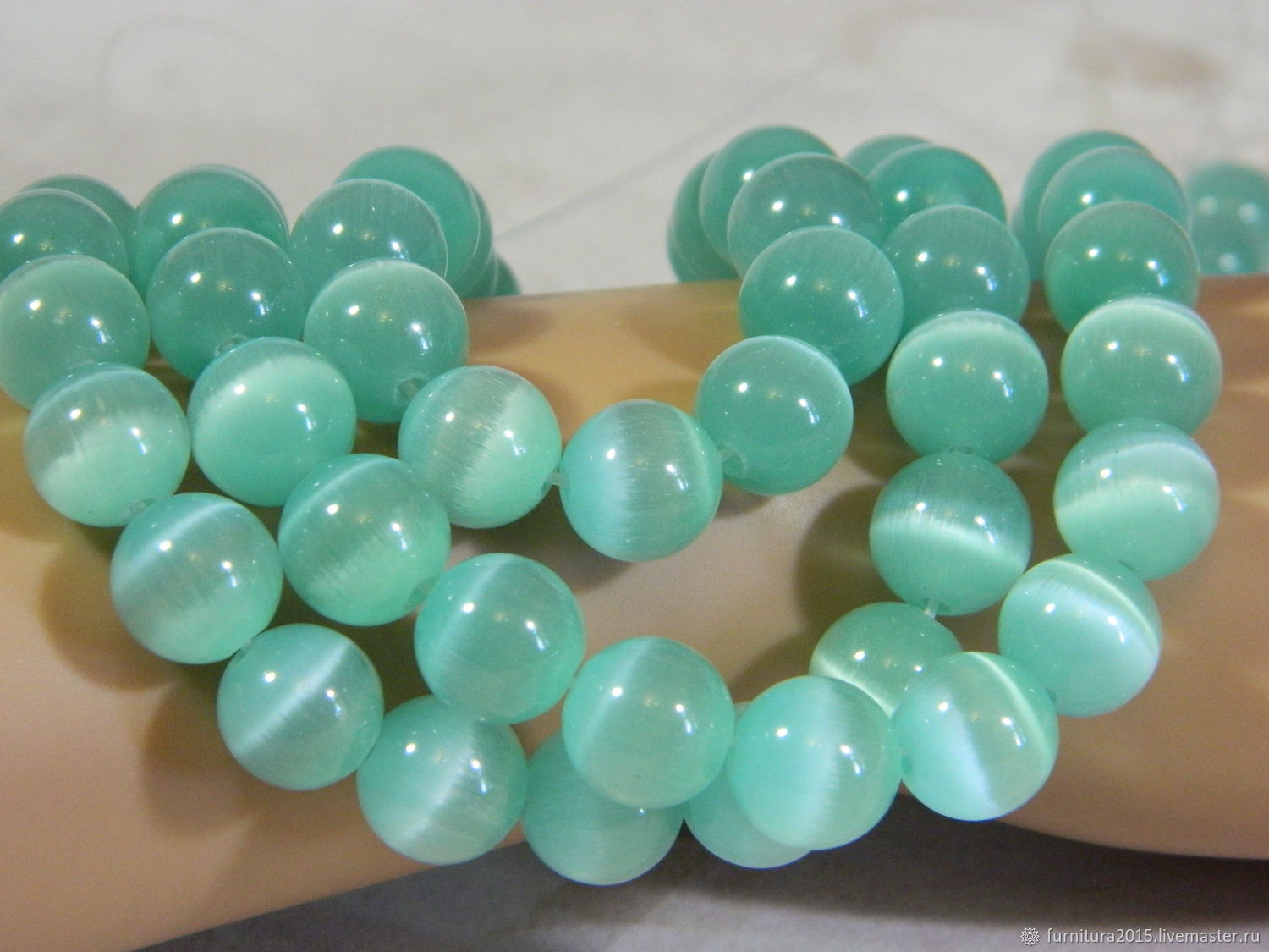 Cat's eye color mint 12 mm piece, Beads1, Saratov,  Фото №1