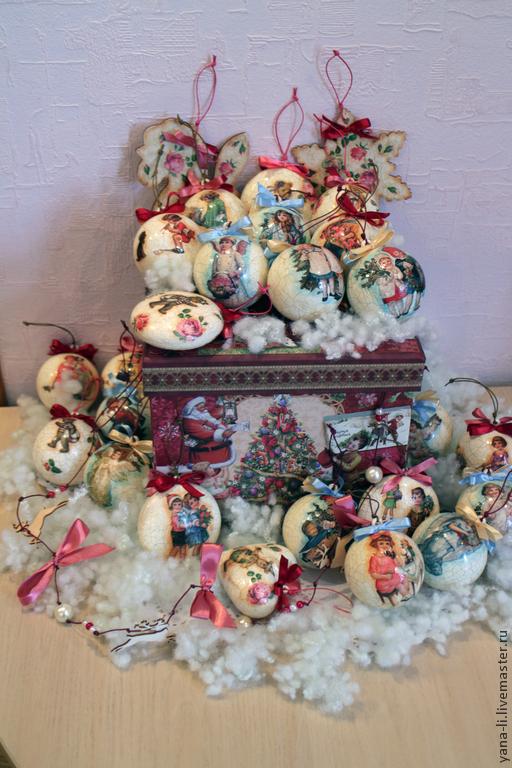 """Подвески ручной работы. Ярмарка Мастеров - ручная работа. Купить Большой набор """"В гостях у деда мороза"""" елочные шары. Handmade."""