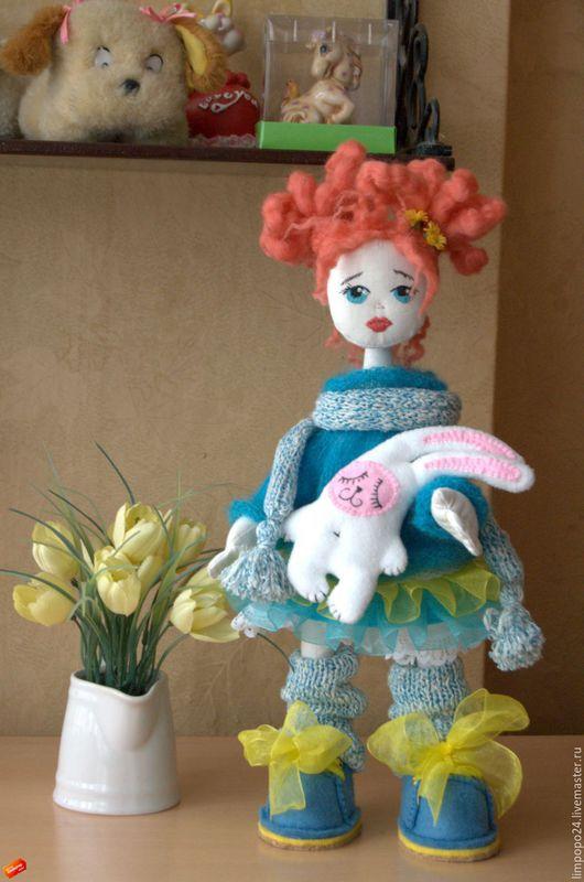 Коллекционные куклы ручной работы. Ярмарка Мастеров - ручная работа. Купить Кукла интерьерная Золото на голубом. Handmade. Бирюзовый