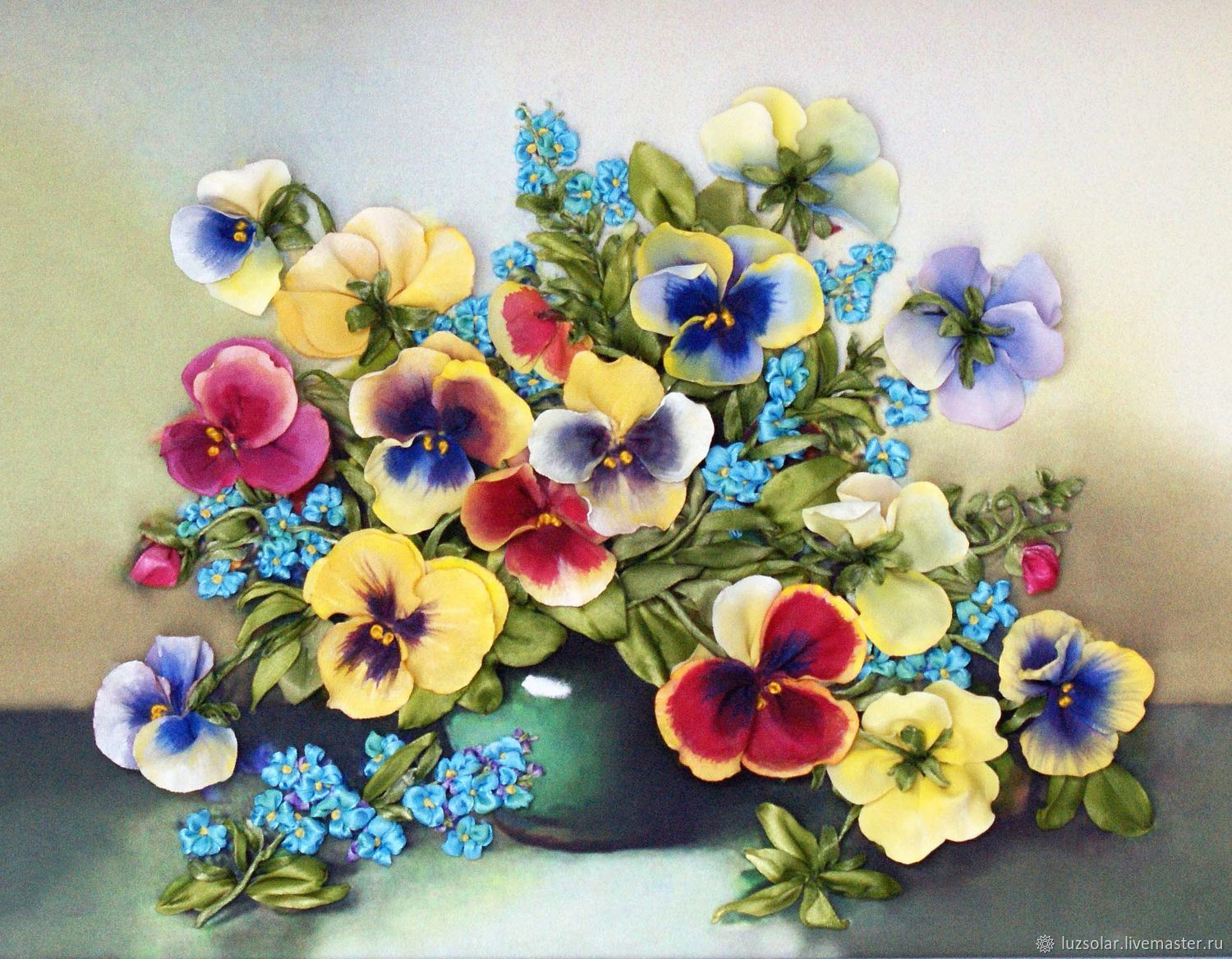 The picture is embroidered with ribbons viola and forget-me-nots, Pictures, Maikop,  Фото №1