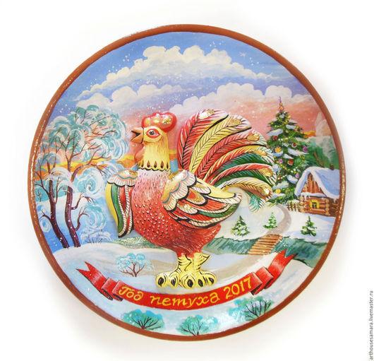 """Новый год 2017 ручной работы. Ярмарка Мастеров - ручная работа. Купить Керамическая тарелка """"Петух"""". Handmade. Ярко-красный, год петуха"""