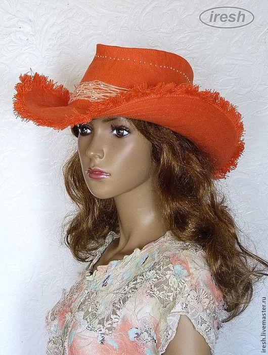 """Шляпы ручной работы. Ярмарка Мастеров - ручная работа. Купить Шляпа """"Ковбойский стиль"""" летняя льняная оранжевая. Handmade. Оранжевый"""