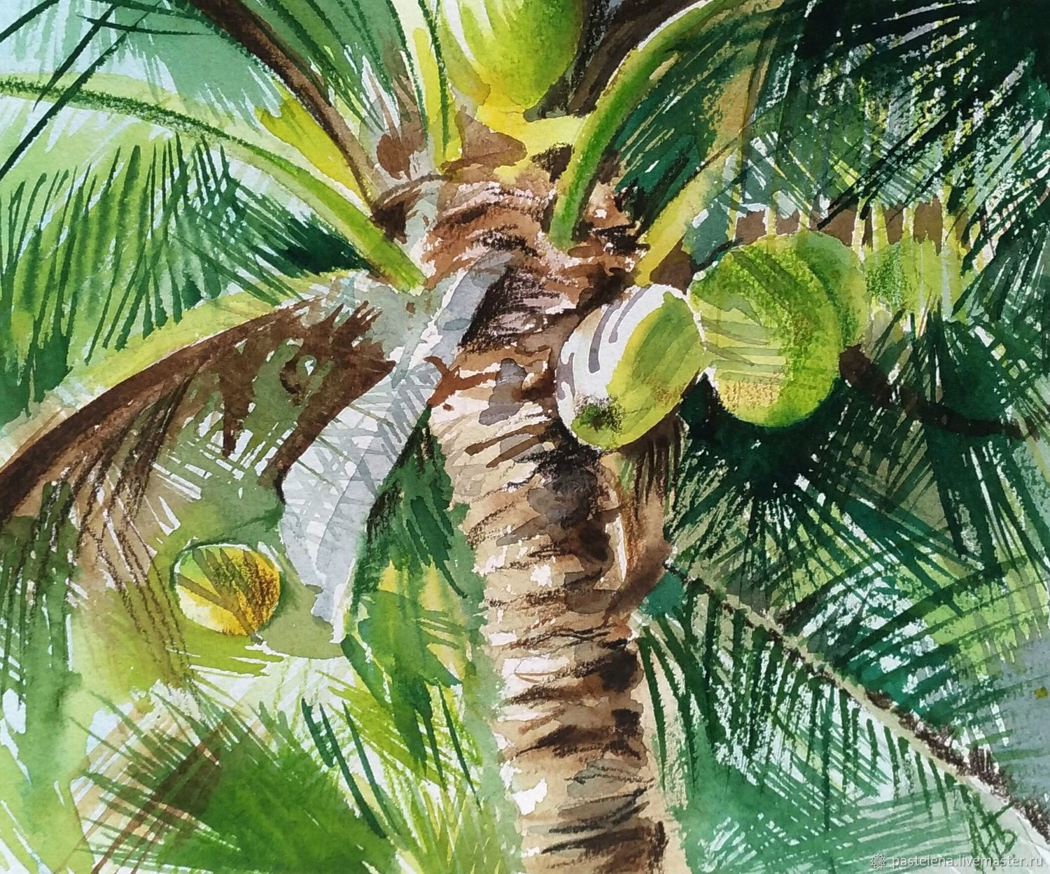Watercolor palm tree (yellow green beach), Pictures, Yuzhno-Uralsk,  Фото №1