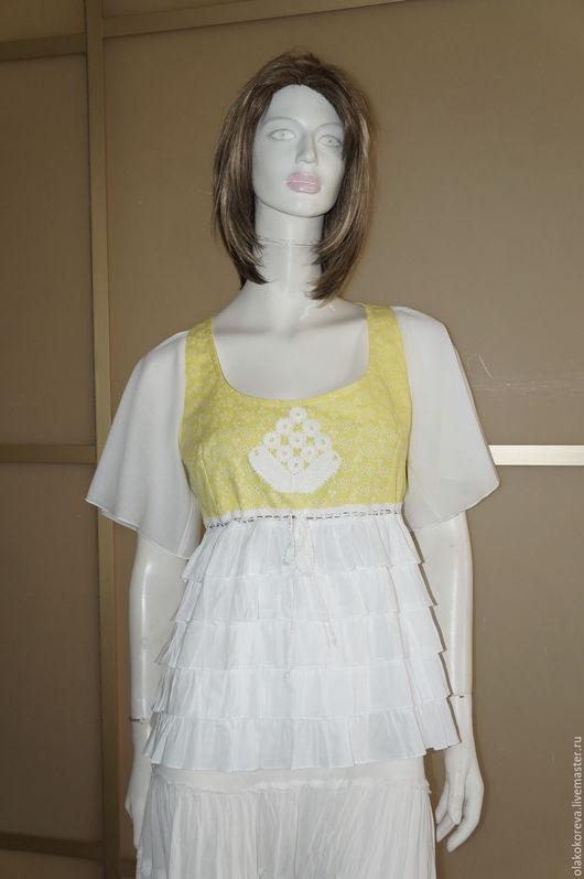 Блузки ручной работы. Ярмарка Мастеров - ручная работа. Купить Блузка бохо р.46 желто-белая. Handmade. Желтый