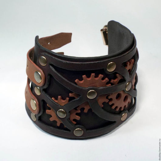 Браслеты ручной работы. Ярмарка Мастеров - ручная работа. Купить Кожаный браслет/наруч №2 (в стиле стимпанк). Handmade. браслет