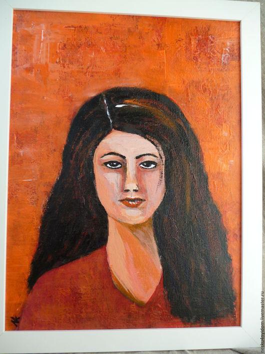 Яркие картины, картина акрилом,  красный, портрет девушки в красном, портрет девушки, авторская картина, картина в спальню,  купить картину,  картина в Екатеринбурге.