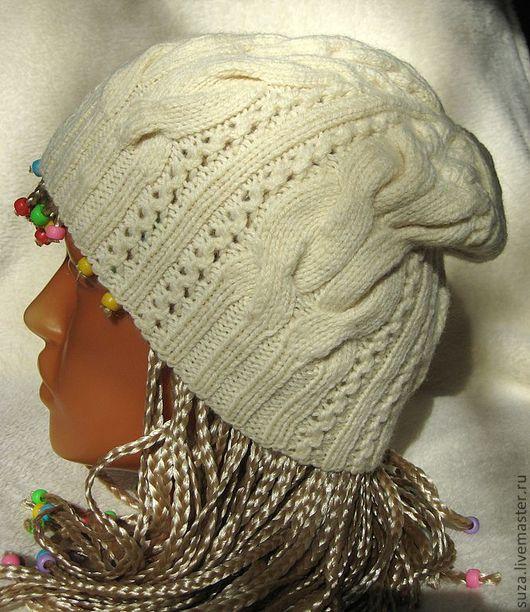 """Шапки ручной работы. Ярмарка Мастеров - ручная работа. Купить Шапка """"Сьюзан"""". Handmade. Белый, шапка женская, шапка спицами"""