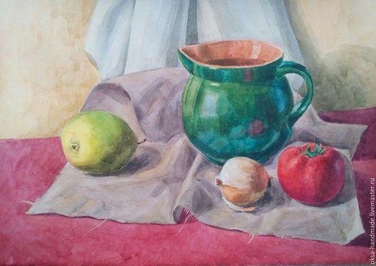 Натюрморт ручной работы. Ярмарка Мастеров - ручная работа. Купить натюрморт с помидором. Handmade. Комбинированный, натюрморт, акварель, акварельная картина