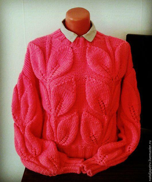 """Кофты и свитера ручной работы. Ярмарка Мастеров - ручная работа. Купить свитер """"листья"""". Handmade. Коралловый, свитер спицами"""