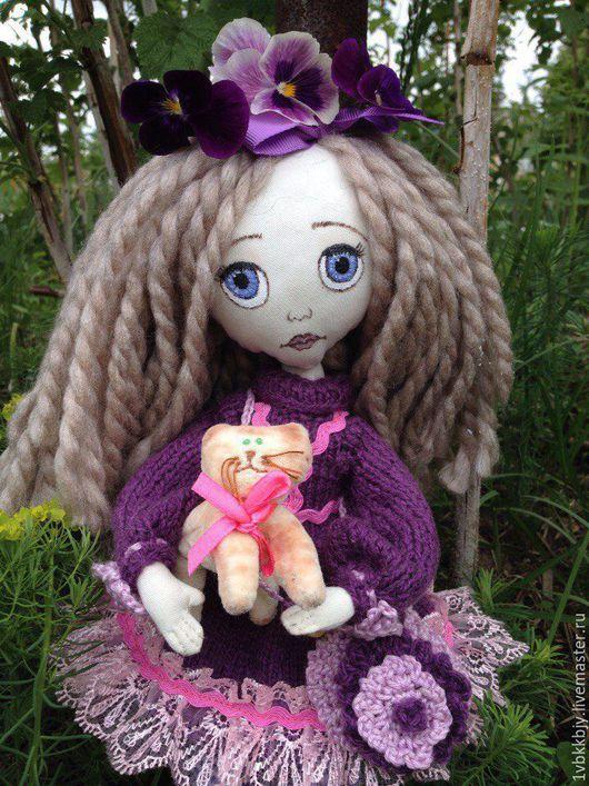 Коллекционные куклы ручной работы. Ярмарка Мастеров - ручная работа. Купить Кукла Анюта с котом. Handmade. Кукла ручной работы