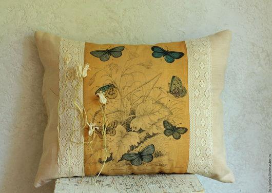 подушка льняная, подушка, подушки, подушка интерьерная, подушка декоративная, печать на ткани, бабочки, винтажный стиль, ретро стиль, домашний текстиль