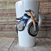 Посуда handmade. Livemaster - original item Mug with a handmade motorcycle.Decor with polymer clay.. Handmade.