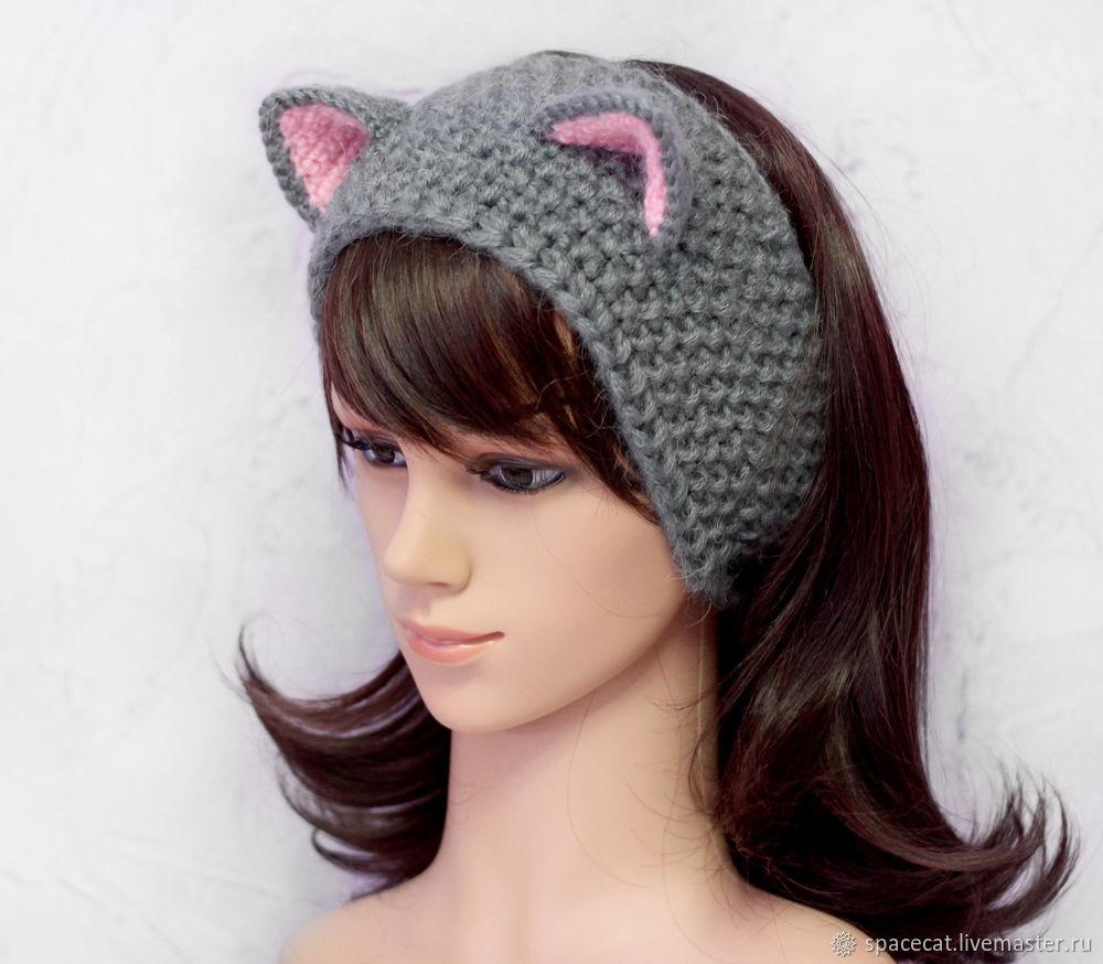 Повязка на голову с ушками Кошка, вязаная для волос Серая ...