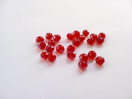 Для украшений ручной работы. Ярмарка Мастеров - ручная работа. Купить Бусина рондель красная 4 мм (10 шт). Handmade.