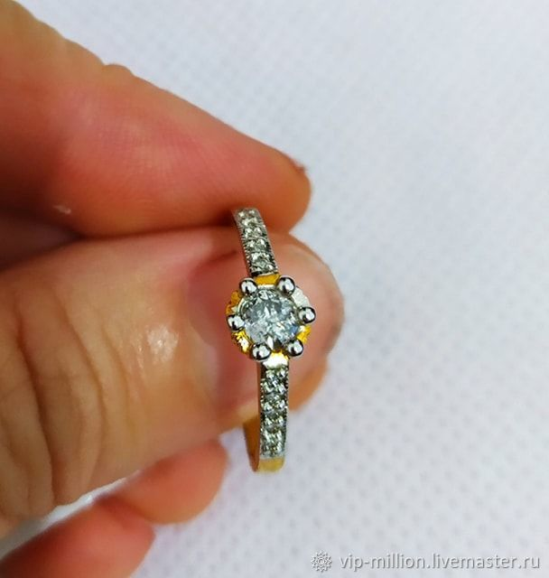 Gold 585 ring with genuine diamonds, Rings, Haifa,  Фото №1